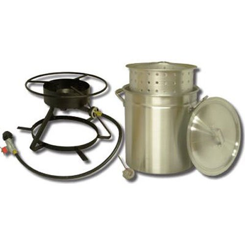King Kooker 5012 Portable Propane Outdoor Boiling and Steaming Cooker Package with 50-Quart Aluminum Pot and Steaming Basket (King Crab)