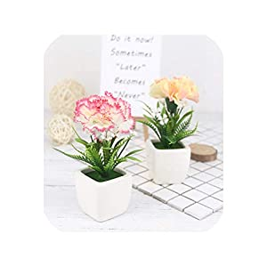 Maja Shop Silk Carnation Flower Bonsai Artificial Flowers Potted Artificial Flower Small Potted for Home Living Room Garden Decoration 55