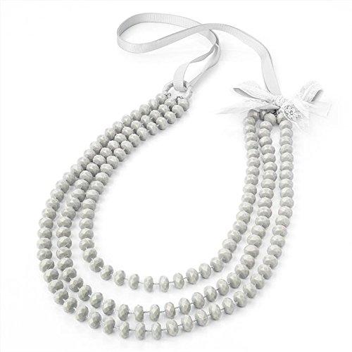3 rangées de perles femme Gris Noeud déclaration collier de mode