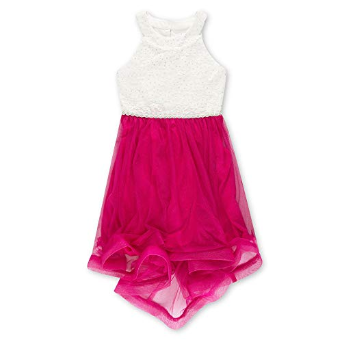 Speechless Girls' Big 7-16 Tween Sparkle Waist Party Dress with Wide Ribbon Hem, Ivory and Fuchsia, 7]()