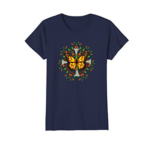 Womens Monarch Butterfly with datura blooms leaf mandala design Large Navy