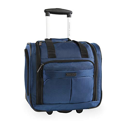 41cKcQI9quL - Perry Ellis Men's Excess 9-Pocket Underseat Rolling Tote Carry-on Bag Travel, Navy, One Size