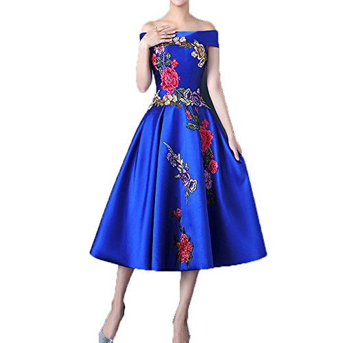 Embroidery Satin Evening Dress - 7