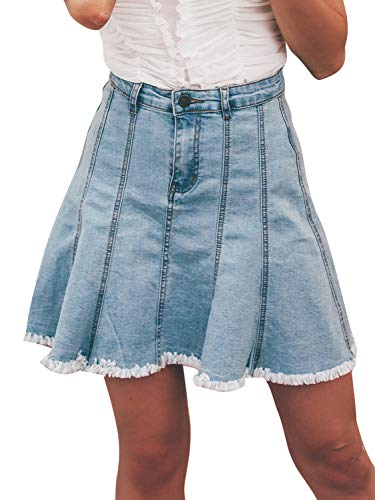 Miessial Women's Jean Skirt A Line High Waisted Denim Skirt Pleated Ruffle Mini Skirt Streetwear Blue