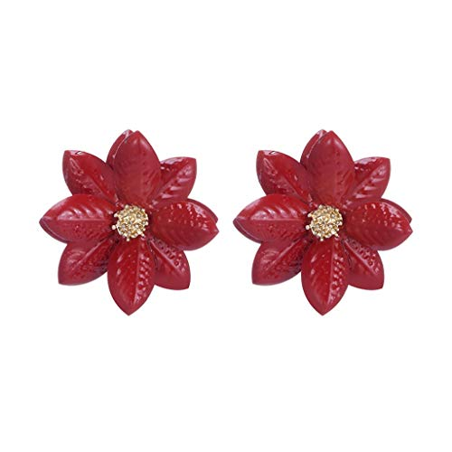 - Psunrise Pendientes Women Fashion Three-dimensional Acrylic Flower Petals Simple Girl Ins Color Earrings(2.9X2.9cm, Red)