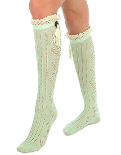 Gingas Galleria Mujeres Lace Button Tassel Knee Socks Bota Socks Mint