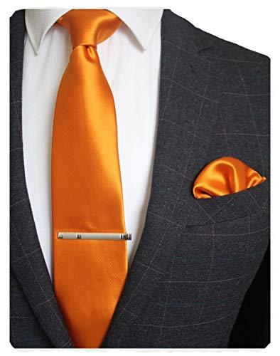 JEMYGINS Mens Formal Orange Necktie and Pocket Square, Hankerchief and Tie Bar Clip Sets (15)