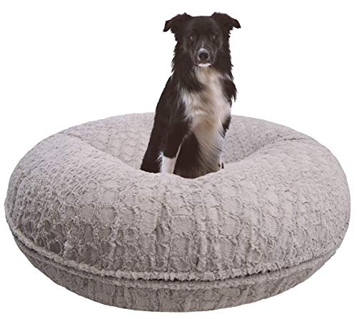 BESSIE AND BARNIE Signature Serenity Grey Luxury Extra Plush Faux Fur Bagel Pet Dog Bed Multiple Sizes
