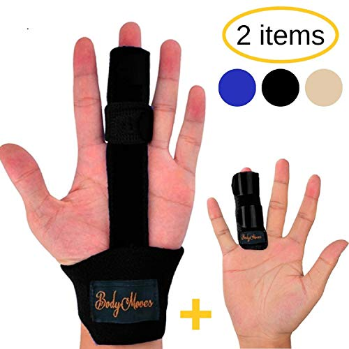 (BodyMoves Finger Splint and Finger Extension Splint Trigger Finger Mallet Finger Broken Finger Post Operative Care Finger Knuckle immobilization Injury (Midnight Black))