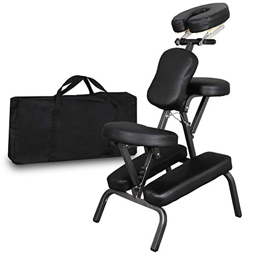 Faux Leather Tattoo - Portable Light Weight Massage Chair Leather Pad Travel Massage Tattoo Spa Chair w/Carrying Bag (#1) (Black)