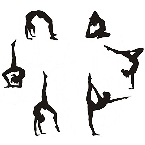 Easma Gymnastics Wall Decals Silhouettes Sport Art Girl Vinyl Decals Wall Sticker Fits Kids Room Decor Home Wall Decor Set of 6 (7.87