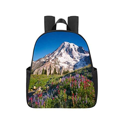 InterestPrint Mt Rainier National Park Wildflowers Summer Time Cascade Mountain Wilderness School Shoulder Bag Novelty Bookbag