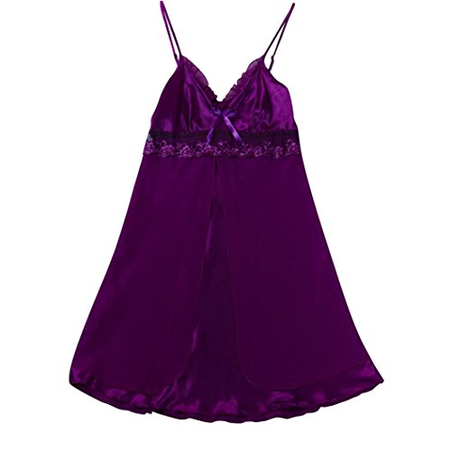 Underwear,NEWONESUN Fashion Women Sexy Lace Plus Size Babydoll Set Sleepwear (XX-Large, Purple) ()