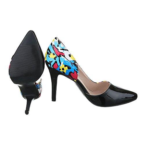 Ital-Design High Heel Damen Schuhe T-Spange Pfennig-/Stilettoabsatz High Heels Schnalle Pumps Schwarz Multi G70003