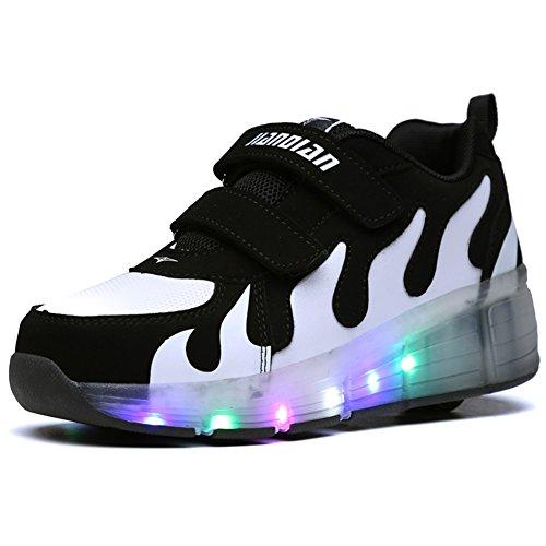 Kids Pink Black LED Light Up Shoes With Roller Wheels
