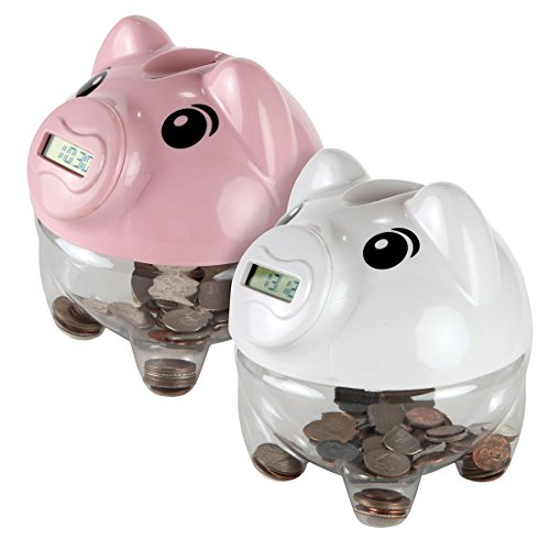 Lily's Home Kid's Money Counting Piggy Digital Coin Banks, Counts U.S. Pennies, Nickels, Dimes, Quarters, Half Dollars, and Dollar Coins, Ideal for Personal Savings (5.5