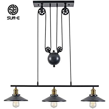 SUN-E Rustic Home Decor Retro Pendant Retractable Chandelier Light Adjustable Lamp 3 Head Hanging light Loft Style Vintage Ceiling Lamps Creative Pulley Design Fixtures Chandelier