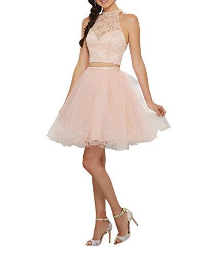 Abendkleider Kleider mia Partykleider Mini Perlen Jugendweihe La Formalkleider Cocktailkleider Kurz Ballkleider Brau Zweiteilig Rosa Spitze aqxvSX