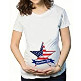 Luonita Women Maternity Memorial Day American Flag Plus Size Shortsleeve Summer Pregnant 4th of July Tops T-Shirt Tee White