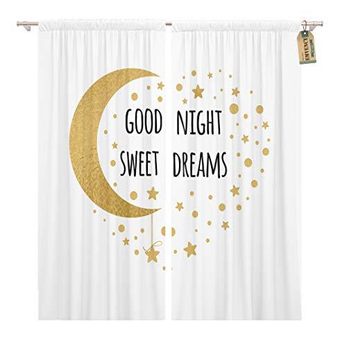 Golee Window Curtain Text Good Night Sweet Dreams Wishing Moon and Stars Home Decor Rod Pocket Drapes 2 Panels Curtain 104 x 96 - Dreams Sweet Curtains