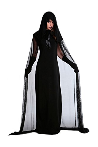 Adrinfly Women Halloween Witch Costume Dark Ghost Dress Party Cosplay Hooded Cloak with Gloves