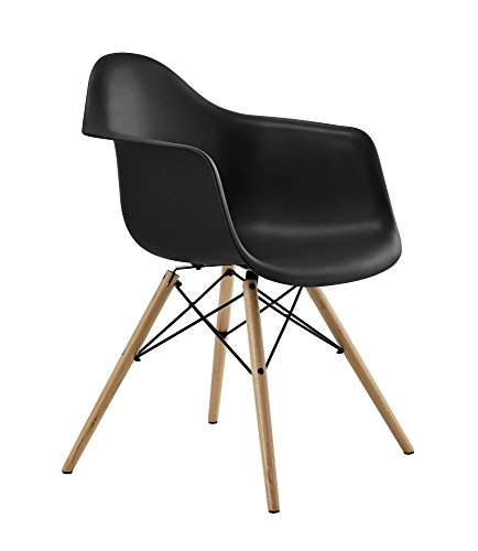 DHP Mid Century Modern Molded Arm Chair with Wood Legs, Lightweight, Black