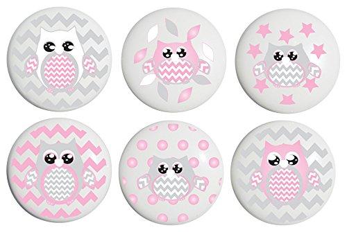 Pink Owl Drawer Pulls/Owl Ceramic Woodland Forest Animal Nursery Cabinet Knobs, Set of 6 (Pink Owls)