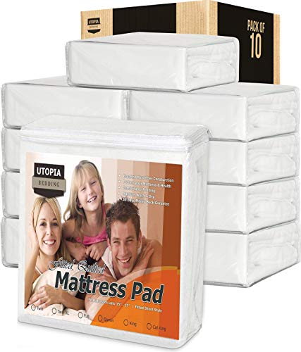 - Utopia Bedding Quilted Fitted Mattress Pad - Mattress Cover Stretches up to 16 Inches deep - (Queen, Pack of 10)