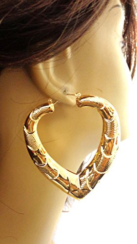 Puffed Heart Hoop Earrings Puffy Bamboo Earrings Gold or Silver Tone Hip Hop Jewelry (gold)