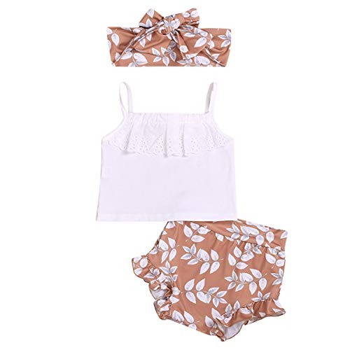 3pcs/Set Infant Baby Girls Halter Sleeveless Lace Tops Vest Leaf Print Ruffled Shorts Costume Headband Outfits (White, 0-6 Months)