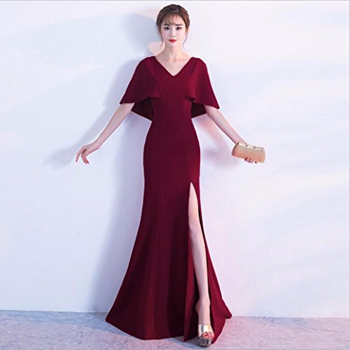 WBXAZL Vestido Elegante, Elegante Cena, Vestido de Noche Negro, V, Slim, Fishtail Anfitrión, Vestido. Jujube Rojo