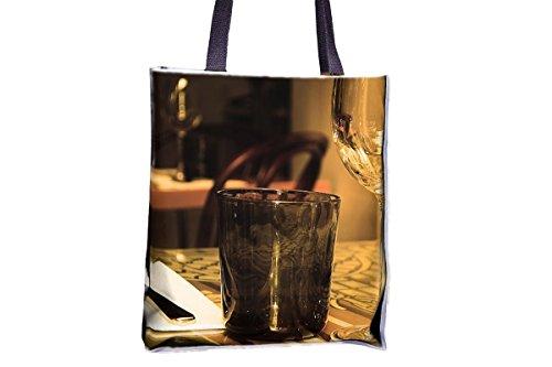 Cuadro, restaurante, muebles, copas de cristal impresas, populares totes, populares bolsas de bolsos para mujer, bolsa de bolso de mano profesional, grandes bolsas de bolso de mano profesional, mejore