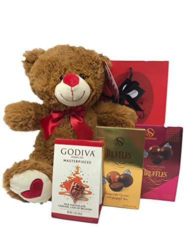 Valentines day Premium Gift Basket| 12 Plush Teddy Bear| Godiva Masterpieces Milk Chocolate| Truffles Chocolate Caramel| Truffles Milk Chocolate| Gift Bag for Mother Father Girlfriend Lover Boyfriend