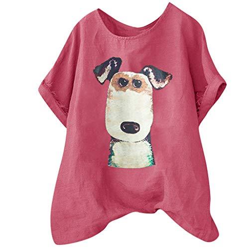 - Women's Short Sleeve O-Veck Contrast Cartoon Dog Print Tee Ringer T-Shirt ♚HebeTop♚ Hot Pink