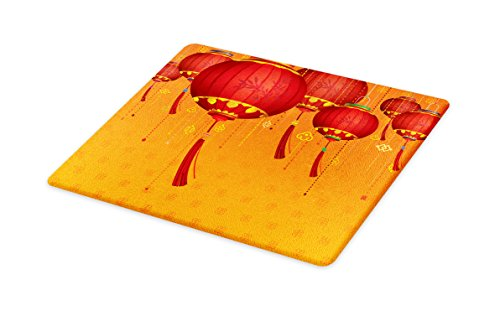 - Lunarable Lantern Cutting Board, Chinese Lanterns Hang on The Air New Year Asian Art Style Design Image Print, Decorative Tempered Glass Cutting and Serving Board, Large Size, Red and Orange