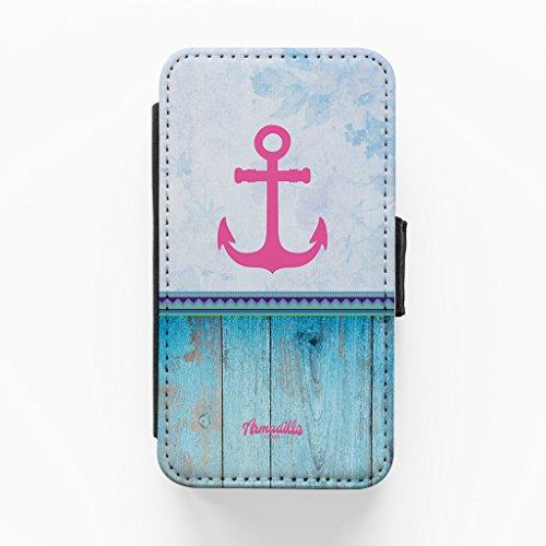 Anchor Blue Hochwertige PU-Lederimitat Hülle, Schutzhülle Hardcover Flip Case für iPhone 4 / 4s vom BYMBOW + wird mit KOSTENLOSER klarer Displayschutzfolie geliefert