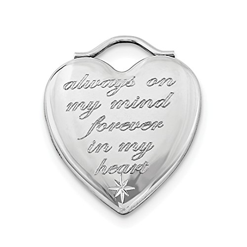 ICE CARATS 925 Sterling Silver Always On My Mind Forever In Heart Photo Pendant Charm Locket Chain Necklace That Holds Pictures Religious Cross Fine Jewelry Gift Set For Women Heart by ICE CARATS