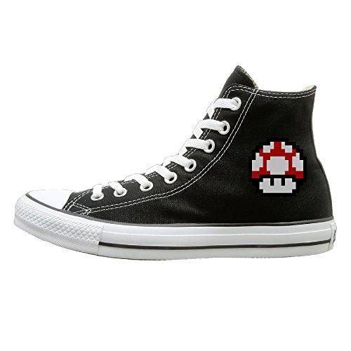Jajade Men & Women Mario Mushroom High Top Sneakers Canvas Shoes Design Sport Shoes Classic 43 (Cute Mushroom Costume)