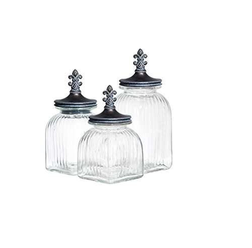 Casa Cortes Fleur De Lis 3-Piece Glass Canister Set - Silver Lid (Crystal Canister compare prices)