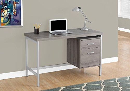 Monarch Metal Computer Desk, Dark Taupe/Silver, 48'' by Monarch