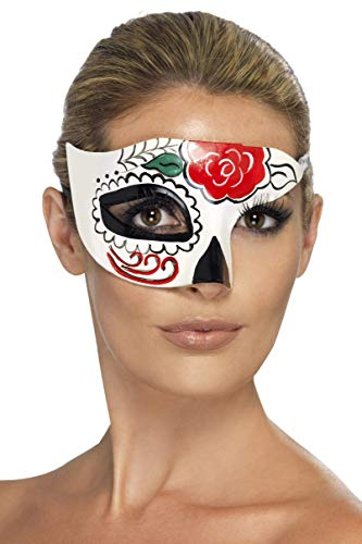 Smiffy's Women's Day Of The Dead Half Eye Mask One Size White -