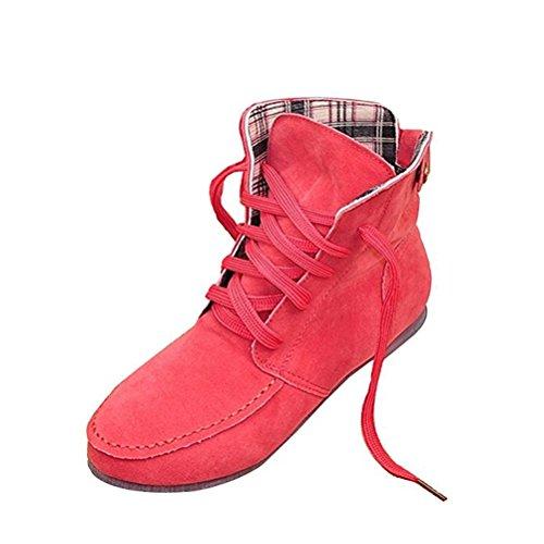 Donalworld Mujer Ancke Round Toe Flat Botas Martin De Cuero Manufacturado Sandía Roja