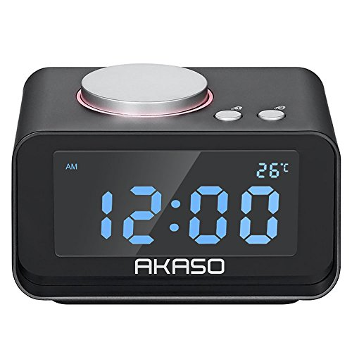 AKASO Alarm Clock, Radio Clock with Dual Alarm Clock, 5 Dimmer Brightness, Indoor Temperature, Dual USB Charger Port Multi-function Snooze Alarm Clock for Bedrooms for Heavy Sleepers, Black
