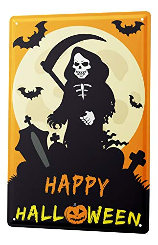 LEotiE SINCE 2004 Tin Sign Happy Halloween with scary grim reaper on cemetery moon and bats comic cartoon satire 20x30 cm metal shield Shield Wall Art Deco decoration retro -