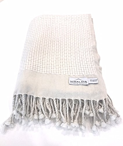 Himalaya Trading Company 100% Cashmere Basketweave Throw in White Sand