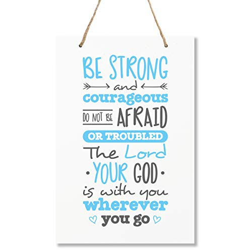 "LifeSong Milestones Be Strong and Courgeous Joshua 1:9 Wall Decor Decorations Signs for Kids, Bedroom, Nursery, Hallways, Baby's Boys and Girls Room, Toddlers Size 8"" x 12"" Proudly Made in -"