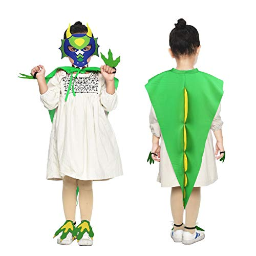 Flying Childhood Toddler Kids Dinosaur Tail Costume and Mask for Boys Girls with Paws--Dragon Xmas Party Cosplay Dress Up (Green--Gold) ()