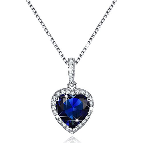 (Created September Birthstone Necklace Simulated Sapphire Necklace Love Heart Necklace Sterling Silver Gifts for Mom)
