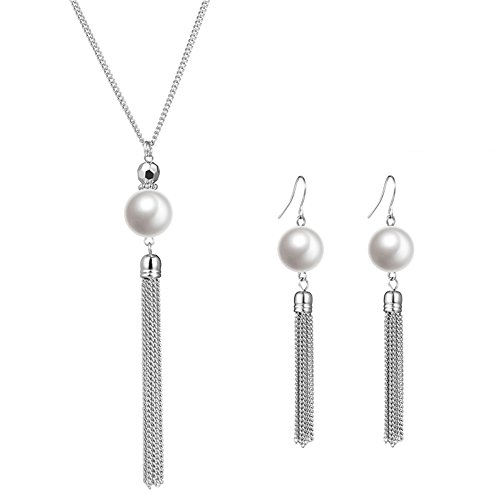 Metal Womens Fashion Necklace - Long Tassel Pearl Jewelry Set - Beaded Dangle Necklace Earrings Fashion Jewelry with Silver Chain, Gifts for Women Girls (White Necklace+Earrings)