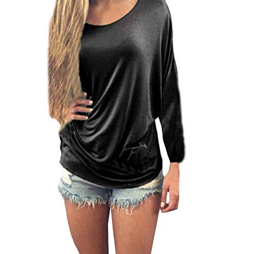 Blouse Shirt Neck Black Loose DKmagic Women Half Tops O Lace Casual Sleeve x6CxUwvTq